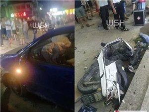 惊险!凌晨揭阳一轿车冲出隔离带,女子连人带车被撞飞几米