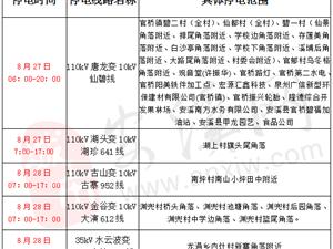 彩尊计划停电通知:2018年8月27日-28日
