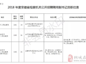 2018年安徽省检察机关公开招聘,其中桐城招聘9名