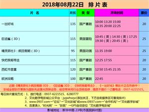 金沙国际网上娱乐官网市文化数字电影城18年8月22日排片表
