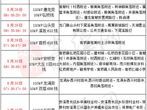 彩尊计划停电通知:2018年8月29日-8月31日
