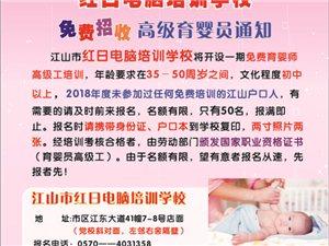 红日电脑培训学校免费招收高级育婴员通知
