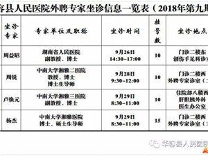 9月26日一29日,省城的医疗教授来县人民医院坐诊