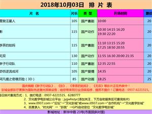 万博manbetx客户端苹果市文化数字电影城18年10月3日排片表