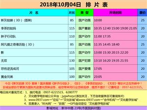 万博manbetx客户端苹果市文化数字电影城18年10月4日排片表