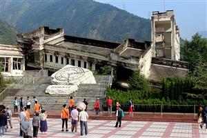 参观汶川地震遗址