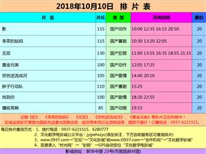 万博manbetx客户端苹果市文化数字电影城18年10月10日排片表