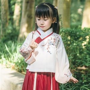 祥云花卉锦鲤刺绣汉服,清新淡雅汉服皇家国际儿童装