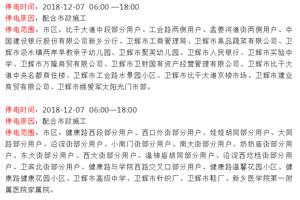 【卫辉停电通知】时间:12月7、8、9、10、11、12、13日