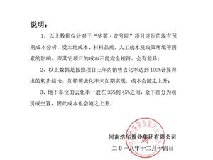 """浩华集团关于""""华英壹号院""""楼面价格成本的说明"""