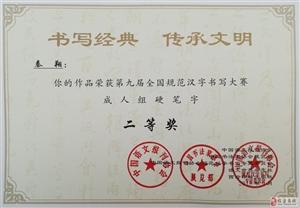 """临泉翰林书院师生在""""第九届全国规范汉字书写大赛""""获奖"""