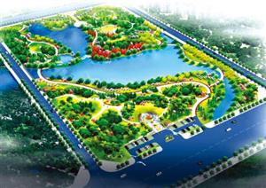 掇刀双泉公园初展颜规划有3个休闲广场及环湖自行车道