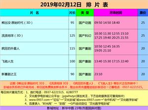 金沙国际网上娱乐官网市文化数字电影城19年2月12日排片表