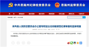 来凤县人民防空委员会办公?#26131;?#32844;副主任向敏接受纪律审查?#22270;?#23519;调查