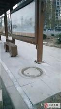 博兴这个公交站牌一边的井盖,看着真吓人,能不能换个新的?