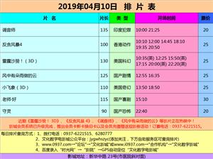 金沙国际网上娱乐官网市文化数字电影城19年4月10日排片表