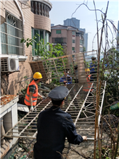 广安区综合执法局开展外置式防护栏整治 助力广安城市品质提升