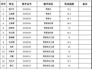 2019年岷县部分县直部门(单位)公开选调工作人员笔试成绩公示