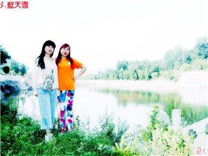 商州仙娥湖上的36户外蓝天人