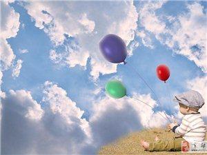 气球带着孩子越飞越远