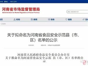 河南�M命名一批食品安全示范�h(市、�^),�v�R店�@���h上榜 !