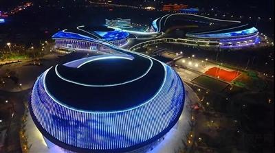 天水城市新地标--市体育中心主体建筑集体亮灯现场照片首度曝光