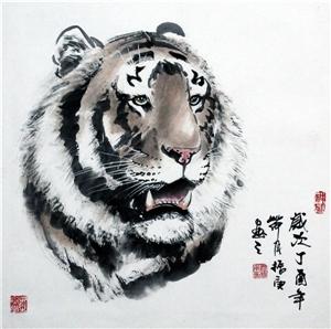 2017写意虎(斗方)