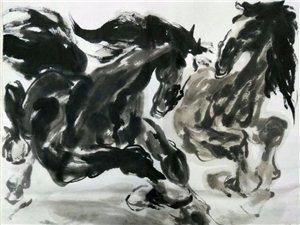 农民李翰迪将在咸阳廊桥现场画马