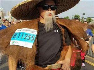 长宁马拉松比赛现场,肚兜、铁锅、斗笠成功抢镜,狗狗也来参赛了!