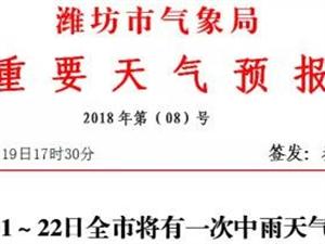 重要天气预报!潍坊21~22日将出现一次明显降雨过程......