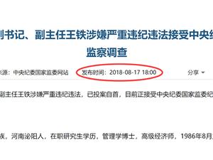 河南省人大常委���h�M副���、副主任王�F已投案自首