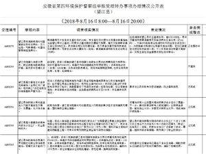 安徽省第四环境保护督察组举报受理转办事项办理情况公开表