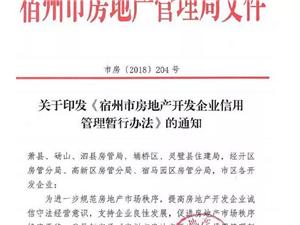 宿州市房地产开发企业信用管理暂行办法元旦起实施!
