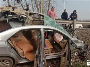 荆门一小车直接冲出路边护栏,车顶被削整个报废,面目全非