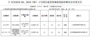 仁寿县2018-60、2019(TR)-1号国有建设用地使用权挂牌出让结果公告