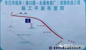 注意绕行!东沱河堤岸(港口路-永通电缆厂)道路施工全封闭