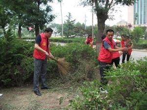 实小红烛志愿者清理路边绿化带