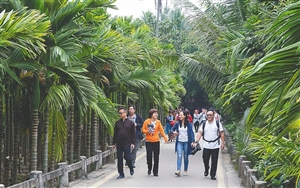 参加第三届中国报业集团高层座谈会的嘉宾参观琼海北仍村 感受美丽乡村生态文明建设成果