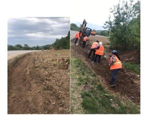 辉南县养护员工开挖边沟