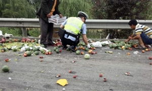 拉运水果车辆不幸倾覆 高速交警出手倾助