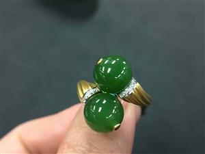 18K金镶碧玉戒指特惠2600