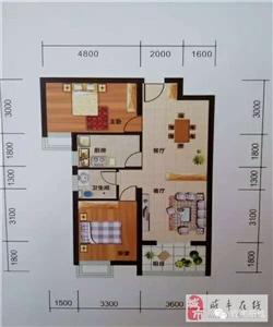 两室两厅单卫带景观阳台,93.48平方米