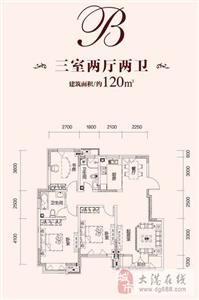 B户型  3室2厅2卫1厨 120.00�O