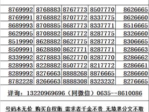 出售聊城靓号小灵通号手机靓号13220969696