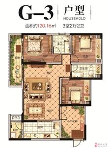 G-3户型   三室两厅两卫   120.16�O