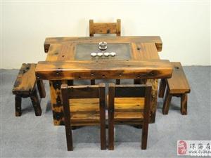 珠海市老船木茶桌椅子仿古茶台实木沙发茶几餐桌办公桌