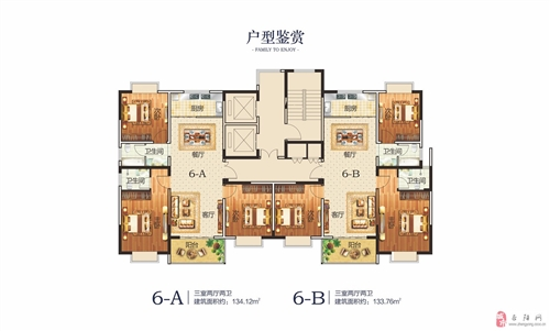 三室两厅两卫6-AB户型鉴赏