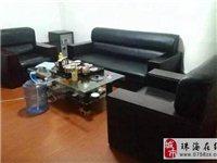 黑皮沙發,辦公會客沙發280元+玻璃茶幾50元