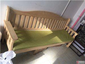 实木长椅有垫子95成新