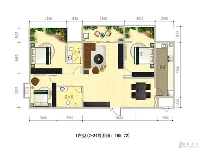 1#楼1户型2-24面积165.72�O